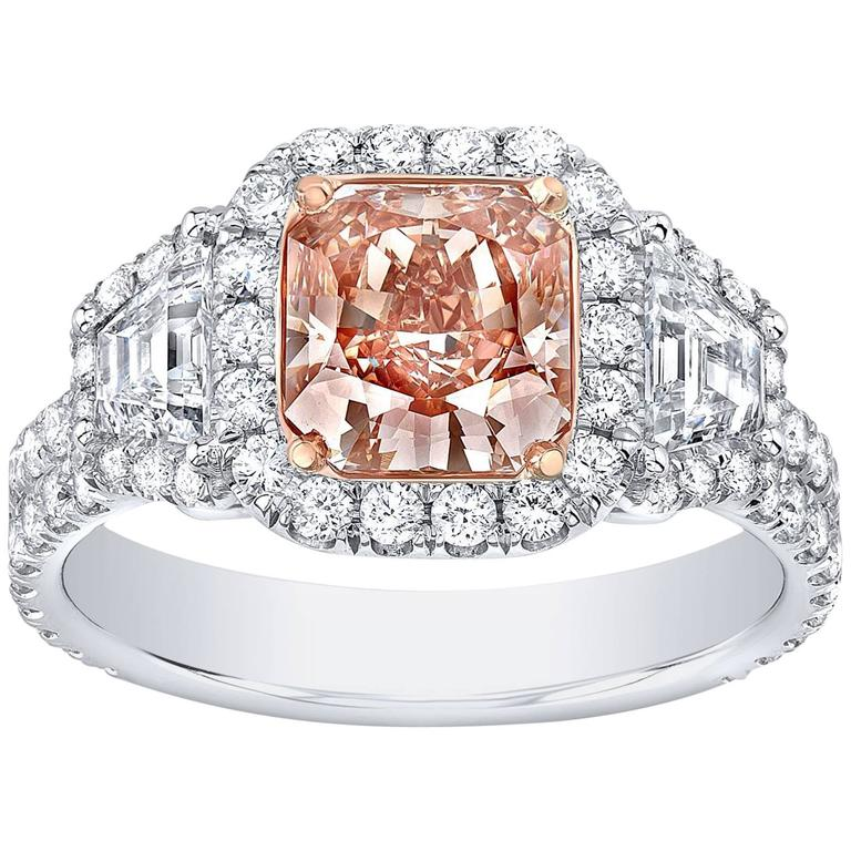 Tamir GIA Certified 1.66 Carat Fancy Brown Pink Radiant Diamond Ring
