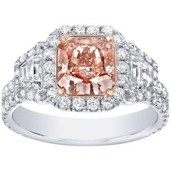 Fancy Brown Pink Diamond Ring Radiant Cut 1.66 Carats GIA Certified
