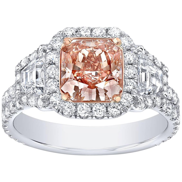Fancy Brown Pink Diamond Ring Radiant Cut 1.66 Carats GIA Certified For Sale