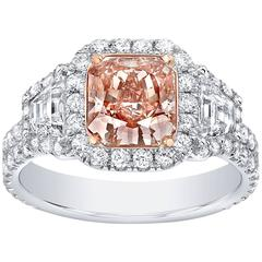 Fancy Brown Pink Diamond Ring Radiant Cut GIA Certified 1.66 Carat