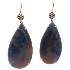Faceted Natural Sapphire Drop Earrings