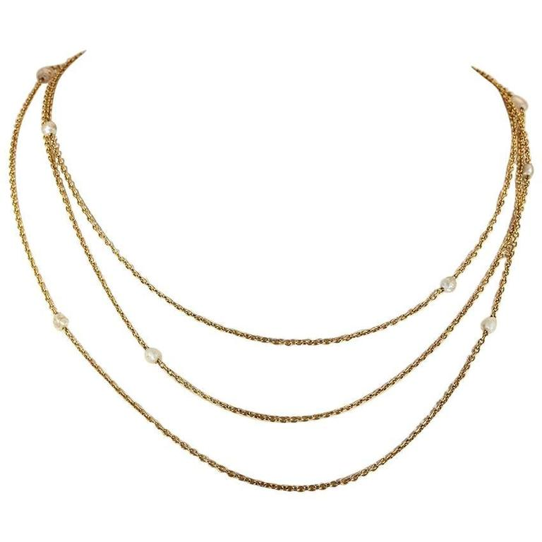 Victorian Pearl Triple Chain Gold Necklace  For Sale