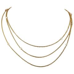 Victorian Pearl Triple Chain Gold Necklace