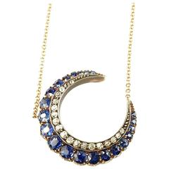 Victorian Incredible Sapphire Diamond Silver Gold Crescent Pendant Necklace