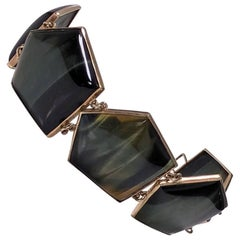 1970s Modernist Labradorite Gold Bracelet