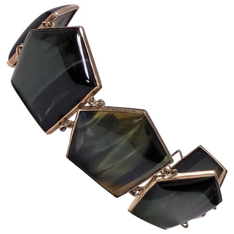 1970s Modernist Labradorite Gold Bracelet For Sale