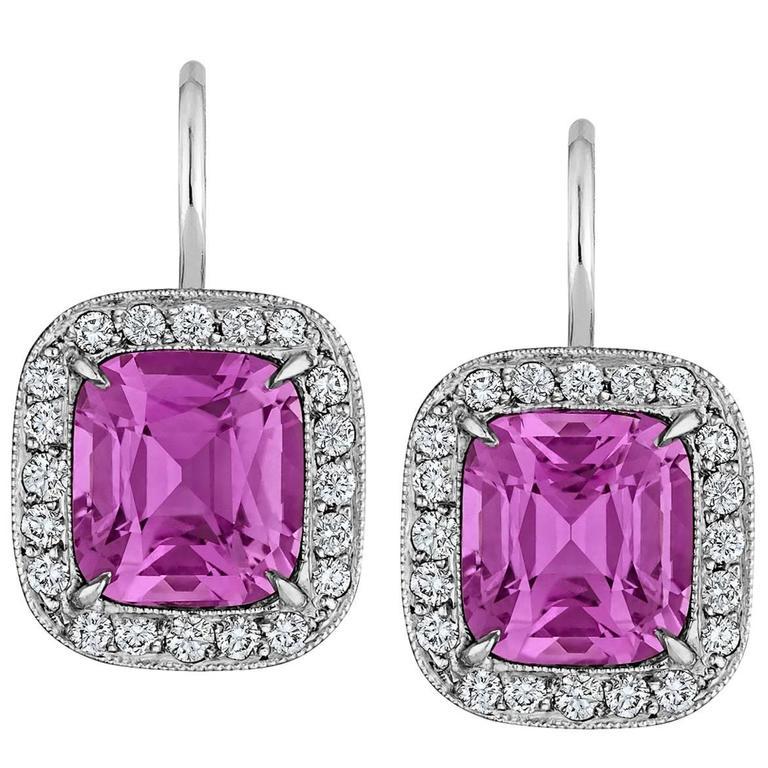 Natural Pink Cushion Cut  Sapphire Diamond  Earrings For Sale