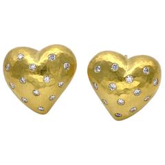 Diamond and Yellow-Gold Heart-Shaped Earrings