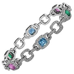 Tiffany & Co. Legacy Diamond Pink Sapphire Tourmaline  Aquamarine Bracelet
