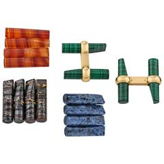 Interchangeable Colored Stone and Gold Baton Cufflinks