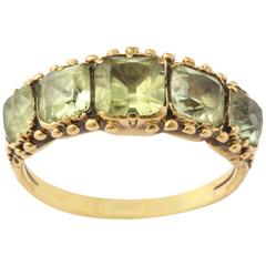 Five Square Cut Chrysolite Gold Band Ring