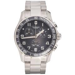 Victorinox Stainless steel Swiss Army Chrono Classic Blue Dial quartz Wristwatch