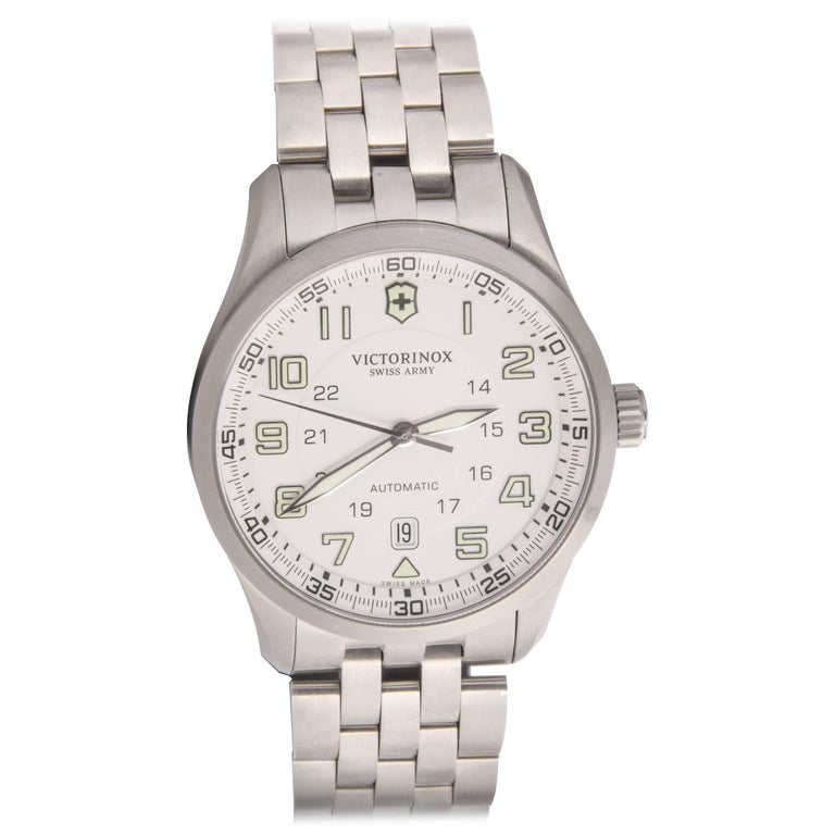 Swiss Army Airboss Stainless Steel Case Cream Dial Automatic Wristwatch For Sale
