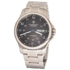 Victorinox Swiss Army Officers Stainless Steel Black Dial Automatic Wristwatch