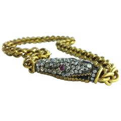 Ourobos Snake Diamond Ruby Gold and Silver Necklace