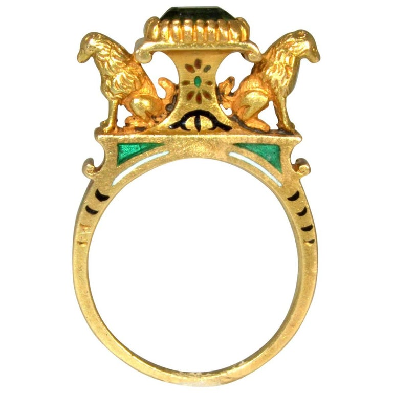 Antique French Renaissance Revival Enamel Gold Ring