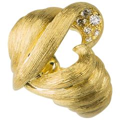 Henry Dunay Heart Motif Diamond Gold Ring