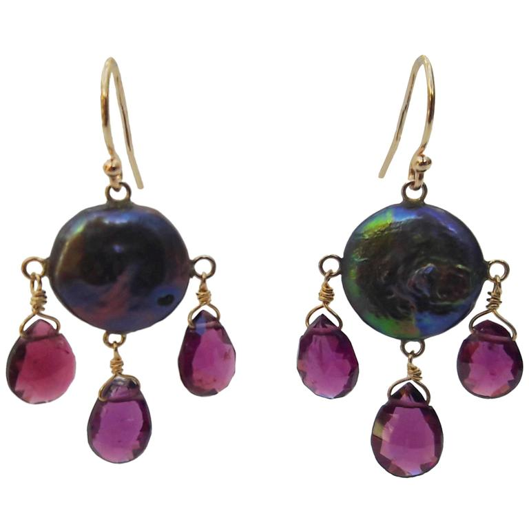 Black Pearl And Pink Tourmaline Earrings With 14k Yellow Gold Hook For