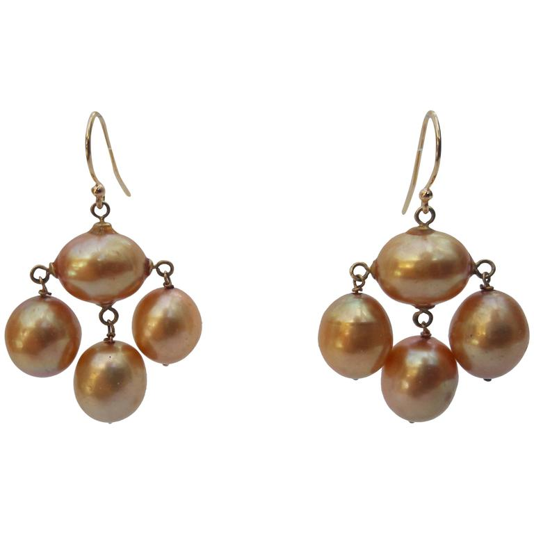 Marina J. Baroque Pearl Gold Earrings For Sale