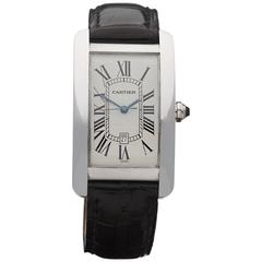 Cartier White Gold Tank Americaine Automatic Wristwatch 1741