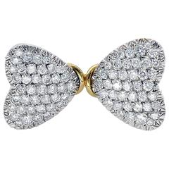 Diamond and Gold Two Hearts Brooch