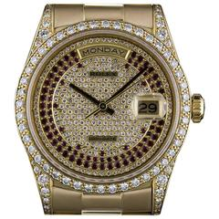 Rolex Yellow Gold Pave Diamond Ruby Dial Day Date automatic Wristwatch