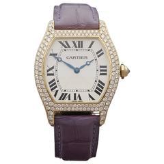 Cartier Yellow Gold original diamonds Tortue Mechanical Wind Wristwatch