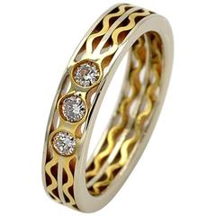 Three Diamonds and Gold Bicolor Eternity Ring