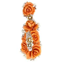 Luise Diamonds Pearls Coral Pendant