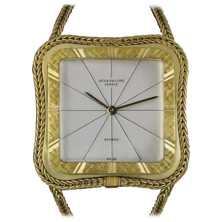 Patek Philippe Ladies Yellow Gold Rare Double Name Somazzi Dial Wristwatch