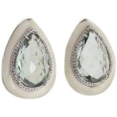 Diamonds Green Amethysts Stones Gold Earrings