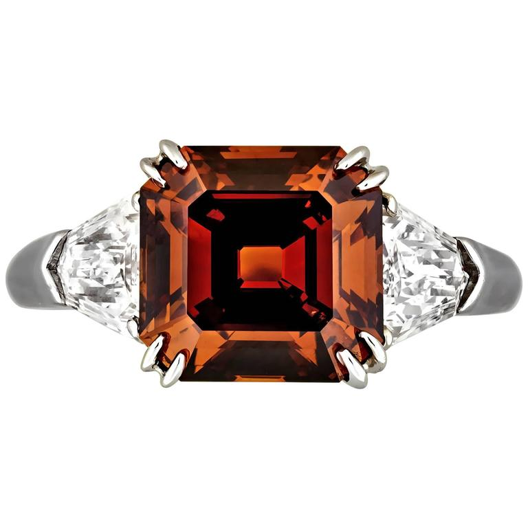 Fancy Deep Brown Orange 3.38 Carat Diamond Platinum Ring
