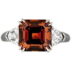 Fancy Deep Brown Orange 3.38 Carat Diamond Platinum Ring