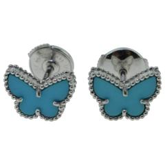 Van Cleef & Arpels Sweet Alhambra Turquoise White Gold Butterfly Earstuds, Cert