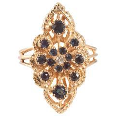 Sapphire Diamond Yellow Gold Ring