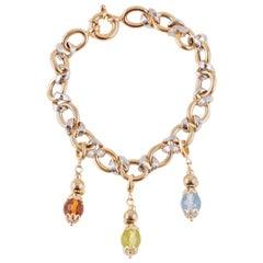 Two-Tone Italian Bracelet Peridot Citrine and Topaz