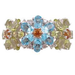 Topaz Peridot Citrine Diamond ring