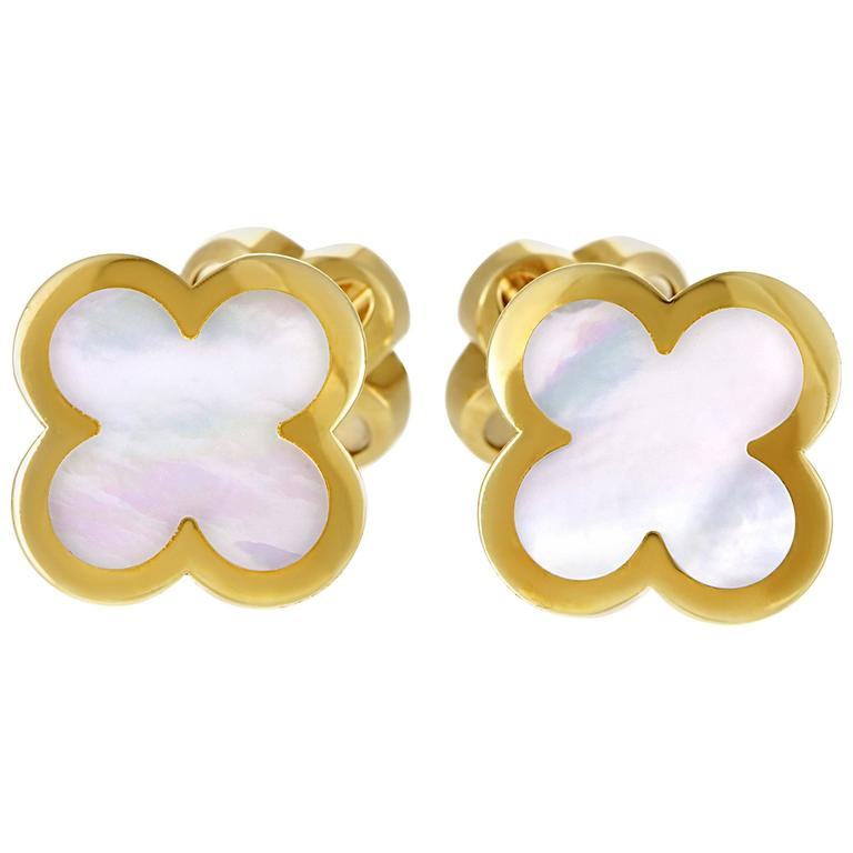 Van Cleef & Arpels Pure Alhambra Mother-of-Pearl Yellow Gold Cufflinks