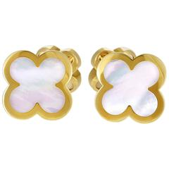 Van Cleef & Arpels Pure Alhambra Mother of Pearl Yellow Gold Cufflinks