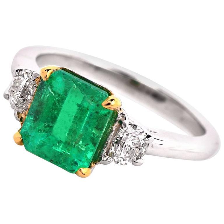asscher cut emerald three platinum