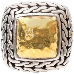 1980s John Hardy Sterling Silver and Gold Ring