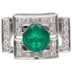 Colombian Emerald Diamond Gold Ring