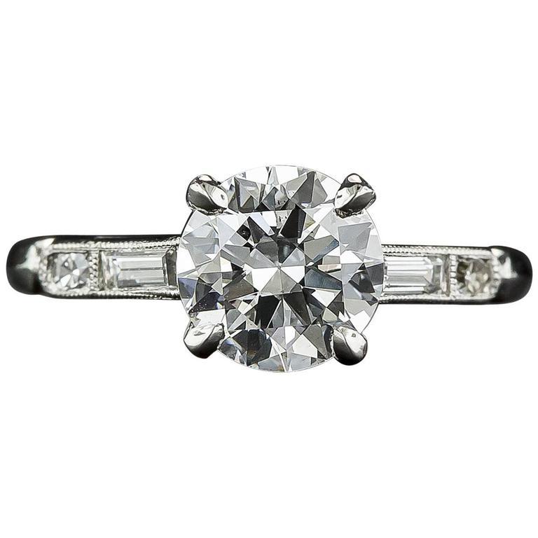 1930s 1.39 Carat Diamond GIA D/VS1 Platinum Engagement Ring