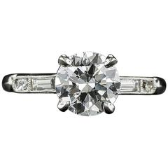 1930s 1.39 Carat Diamond platinum Engagement Ring