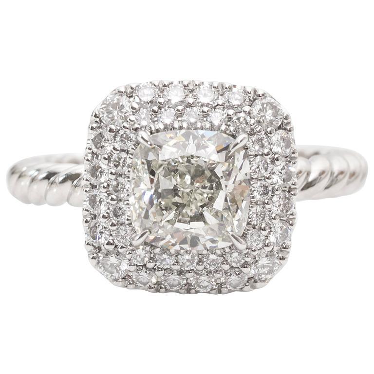 641471e5d8f22a GIA Certified 1.71 Carat Diamond in David Yurman Platinum Mounting For Sale