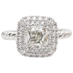 GIA Certified 1.71 Carat Diamond in David Yurman Platinum Mounting
