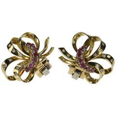 Van Cleef & Arpels Retro Ruby Diamond Earrings