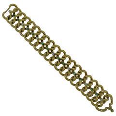 Van Cleef & Arpels Diamond and Emerald Yellow Gold Longchain Bracelet