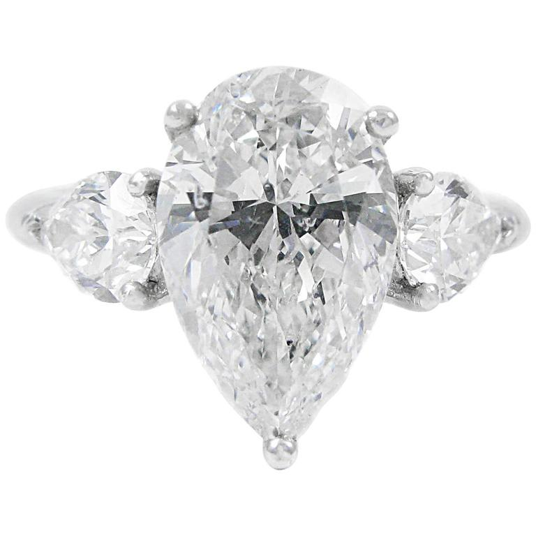 4 01 Carat Total Pear Shape Diamond Platinum GIA Three Stone Ring at 1stdibs