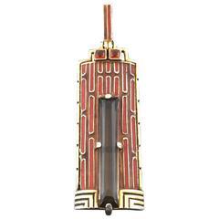 1920s Theodor Fahrner Art Deco Enamel Smoky Quartz Citrine Gilt Silver Pendant